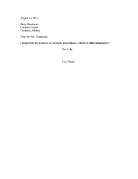 Brief Resignation Letter