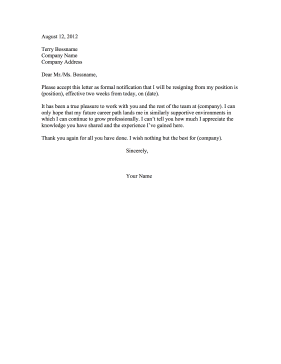 club resignation letters
