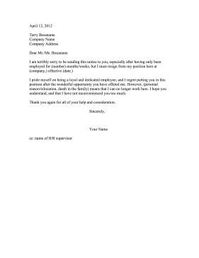 Quitting Letters For Employment