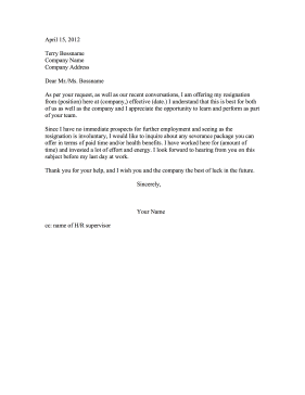 Severance Package Negotiation Sample Letter