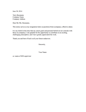 Resignation Letter Due To Ethical Conflict