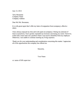 Resignation Letter Informing Colleagues