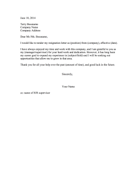 Resignation Letter Due to Lack of Growth