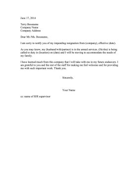 Resignation Letter Due To Military Move