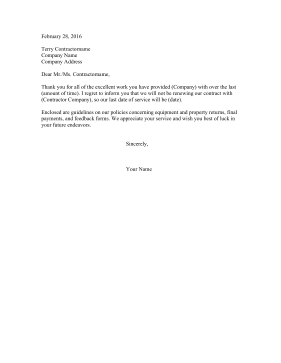 Non-Renewal of Lease Letter