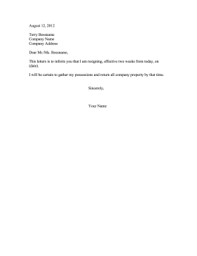 Resignation Letter Two Weeks Notice Resignation Letter