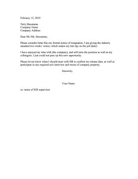 Two Week Notice Resignation Letter