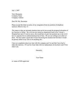 Resignation refusal to relocate spouse s job resignation letter