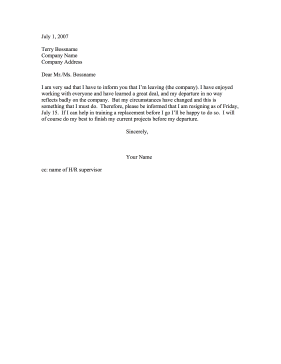 Resignation with Sadness Resignation Letter
